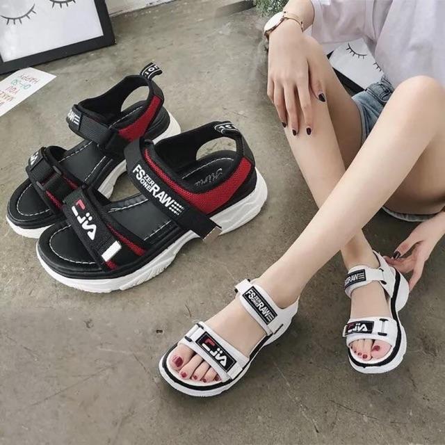 Sandal học sinh quai vải chữ