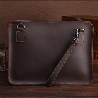 Túi đựng macbook cầm tay da Retro Leather 14inch (Dark Brown) - Home and G
