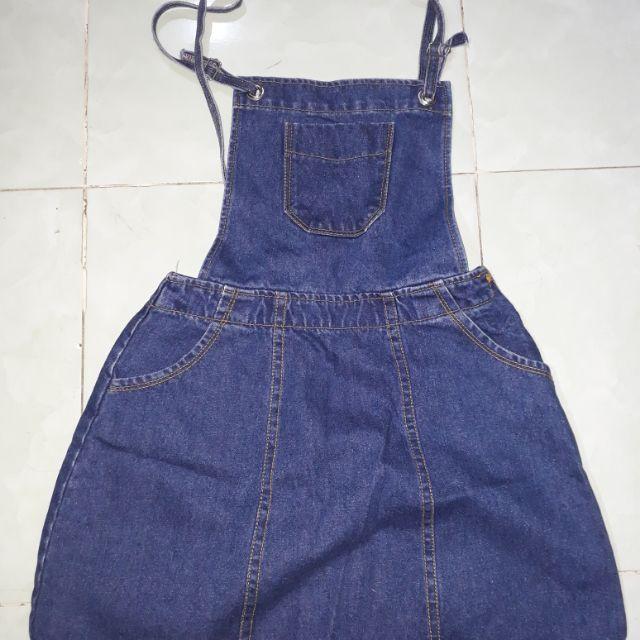 [ THANH LÝ ] Yếm Jeans đầm ngắn dễ thương new 98%