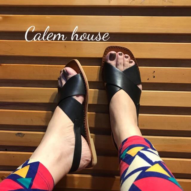Giày Sandal da bò quai chéo PRIVE