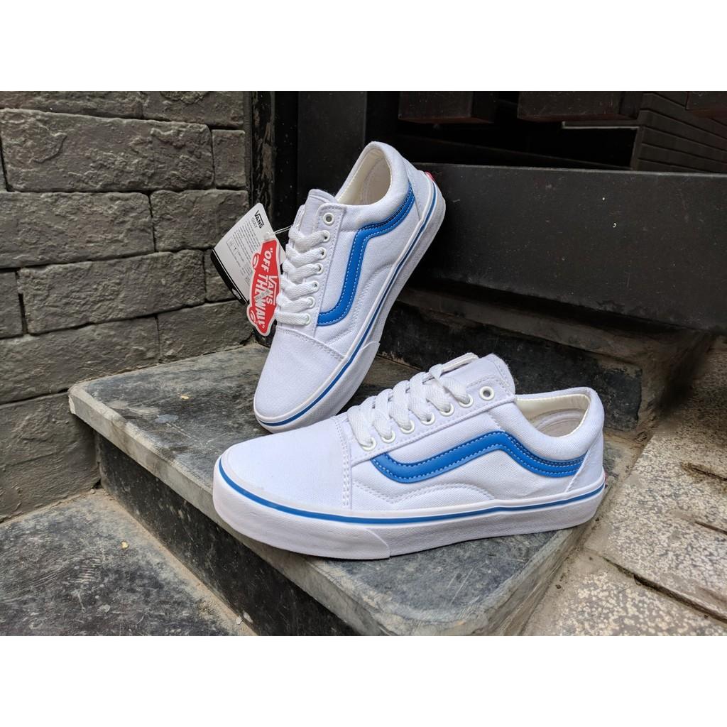 [FULL BOX] Giày Vans Old Skool màu trắng vạch kẻ sọc xanh dương