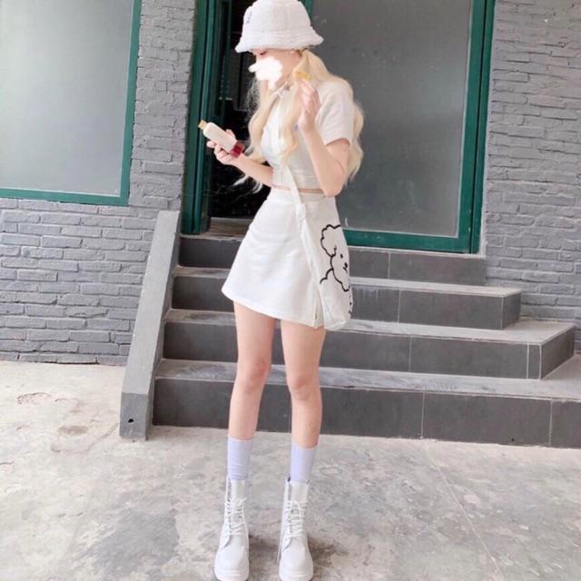 Set áo croptop polo trắng + chân váy hàn quốc (hình thật)
