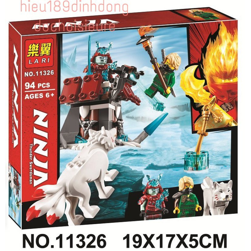 Lắp ráp xếp hình NOT Lego Ninjago 70671 lari 11326 :  cáo băng tuyết 3 đuôi akita và samurai ninja Lloyd 94 mảnh