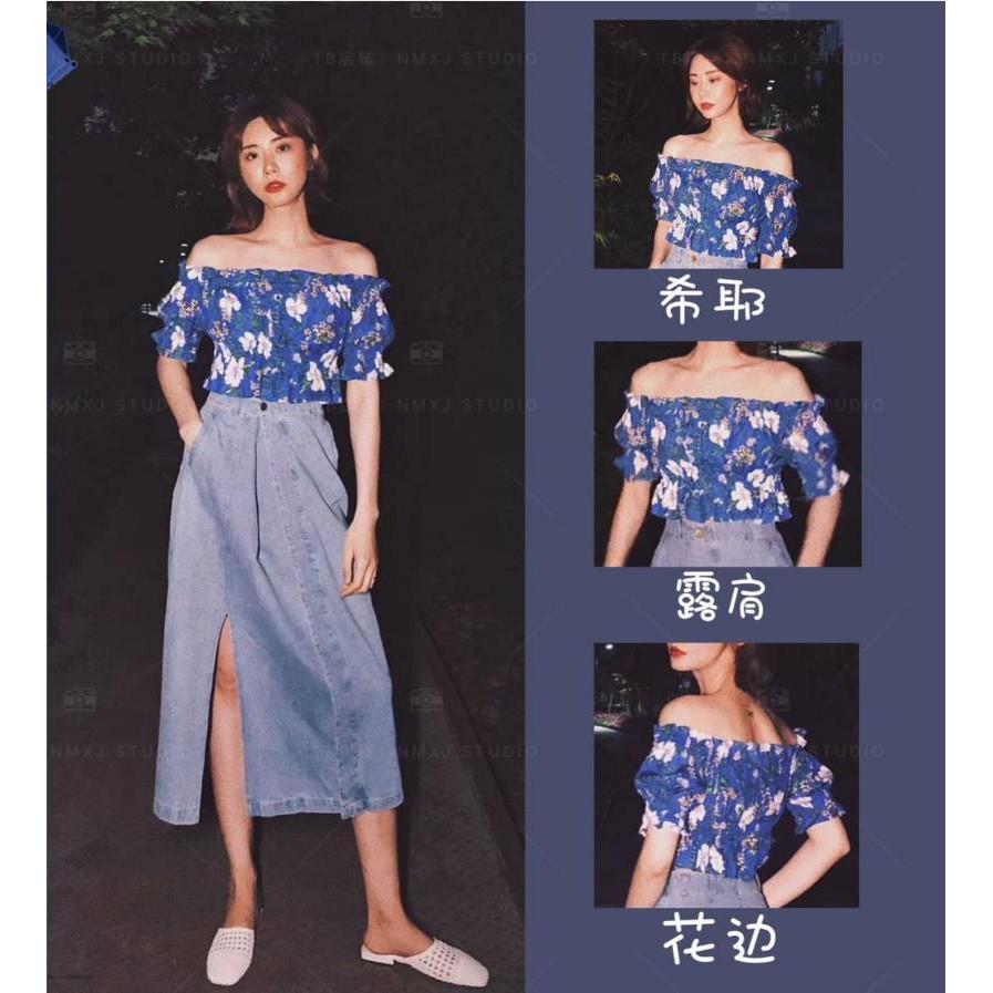 Set Áo Hoa Trễ Vai Và Chân Váy Denim Xinh Xắn Cho Nữ
