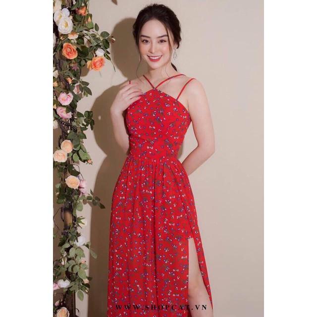 (RẺ VÔ ĐỊCH) Đầm maxi cổ yếm xẻ đùi gợi cảm, đầm maxi xẻ đùi giá rẻ