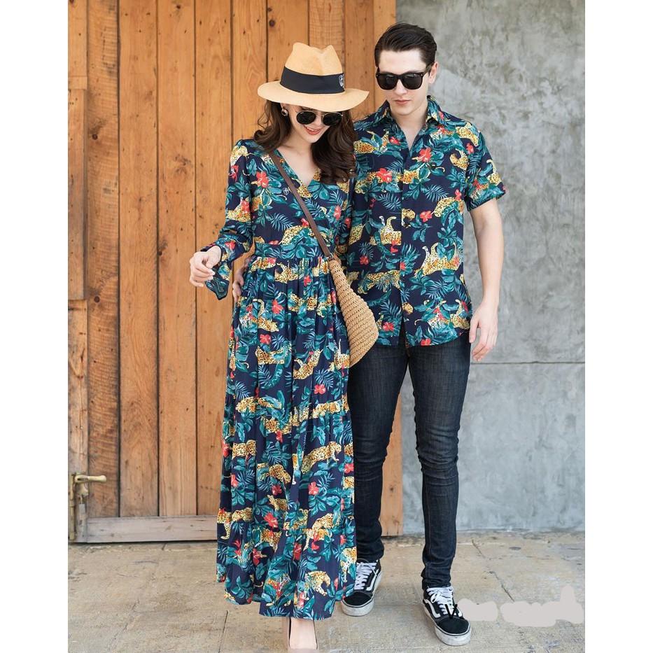 Set đồ đôi - Áo váy sơ mi đôi đầm hoa đi biển