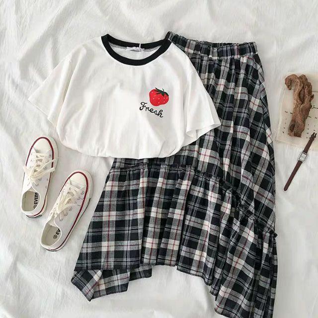 Set áo thun x chân váy kẻ caro (order-inbox)