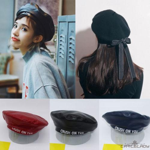 New Womens Ladies PU Leather Beret Harajuku Wool Basque Beret Hat With Bowknot