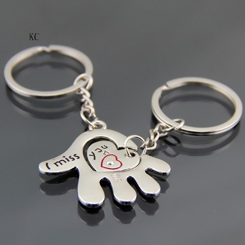 New Couple Hand Palm Heart Keychain Ring Keyring Key Chain Lover Birthday Gift