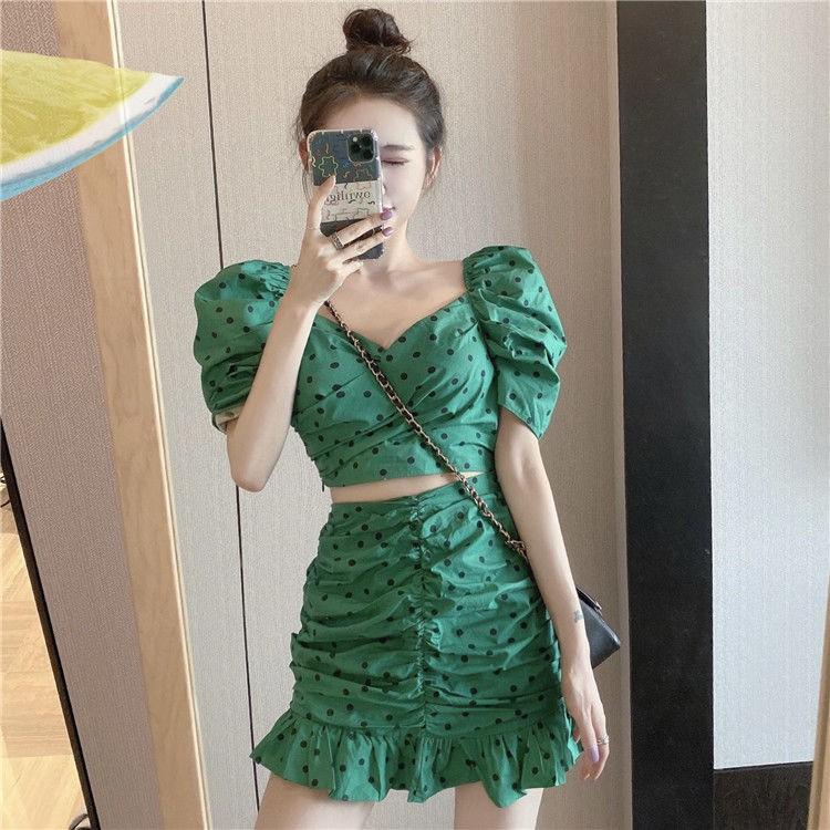 Set Áo Thun Tay Ngắn Phối Chân Váy Thời Trang Hàn Quốc
