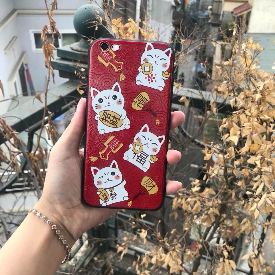 ỐP LƯNG IPHONE 6/6S/6P/7/7P MÈO THẦN TÀI 2018