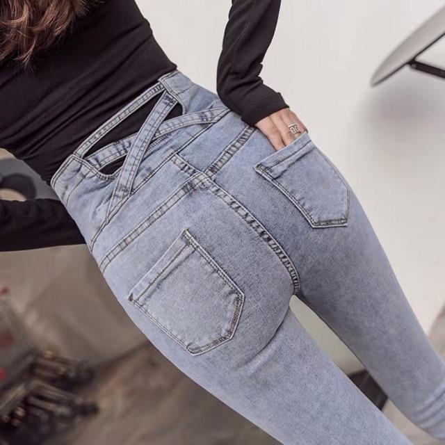 (Order) Quần jeans lưng đan chéo cạp cao cài khuy [Order](kèm ảnh thật)