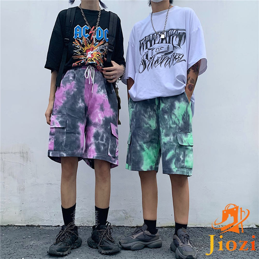 The New Harajuku style Tie dyeing printing Overalls Loose Denim shorts shorts Tide brand