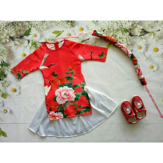 Áo dài cách tân cho bé(tặng kèm mấn đội đầu)