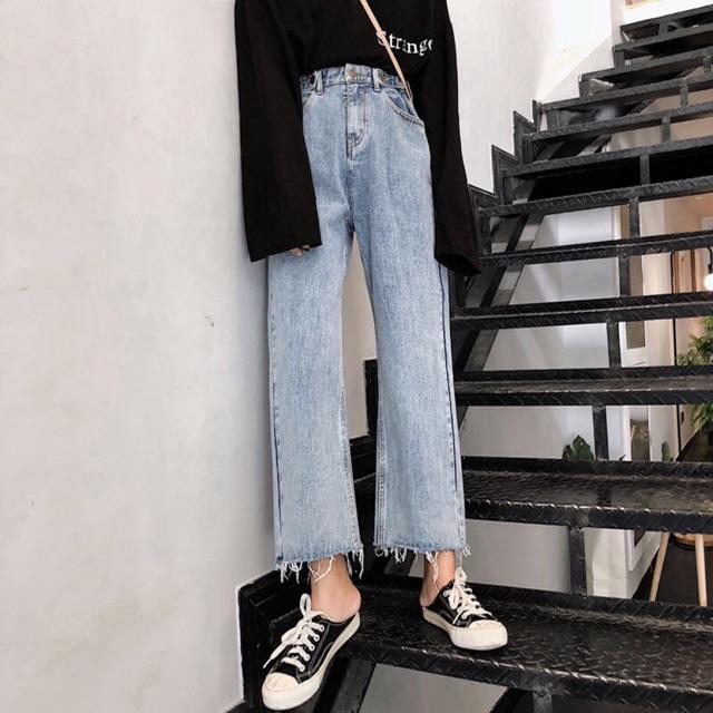 Quần jean nữ cạp cao thẳng 2020 mùa xuân và mùa thu mới quần lỏng nữ sinh viên Hàn Quốc phiên bản thô của quần ống rộng