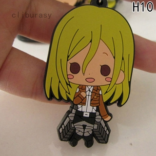Phân tích Cute Anime Attack on Titan Figure Mikasa Alan Double-sided Silicone Pendant Key Chain Ring