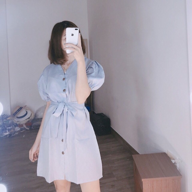 Đầm caro xanh