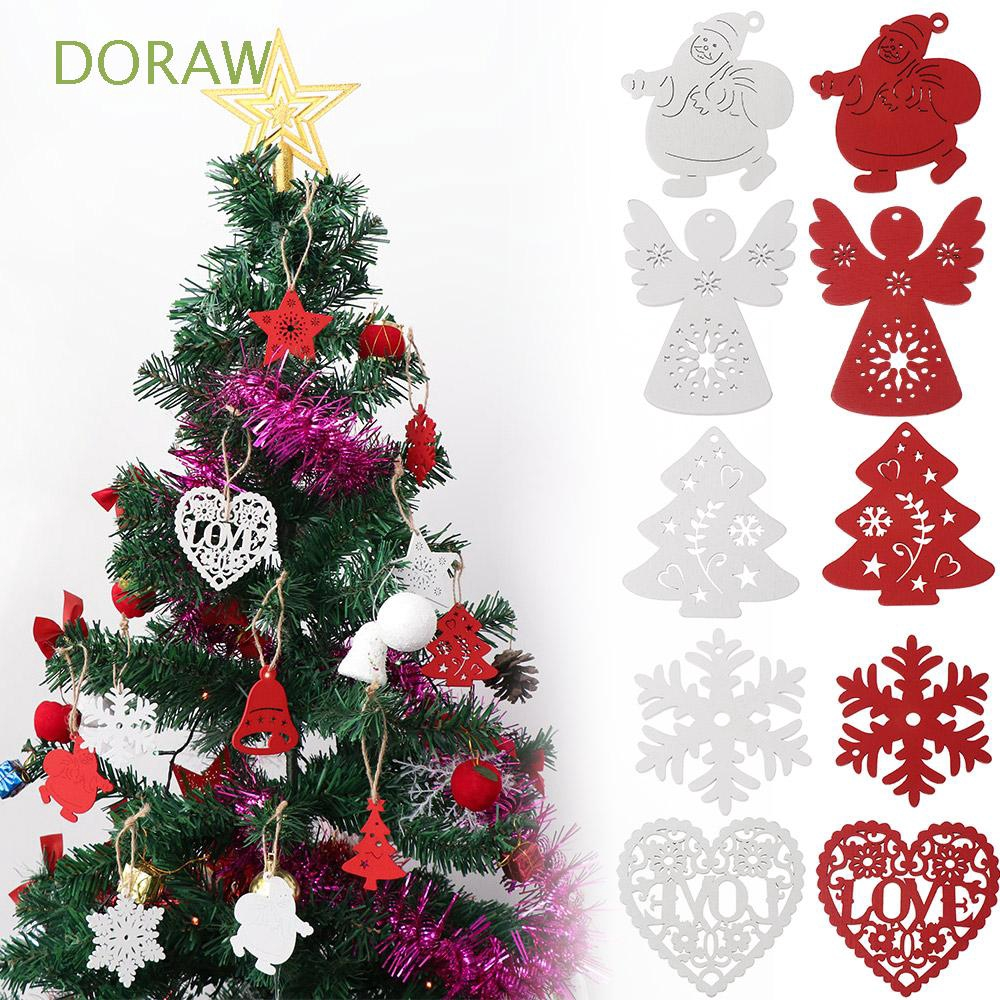 DORAW 10Pcs Home Decor Party Supplies DIY Gifts Wood Crafts Drop Pendant Santa/Elk/Angel