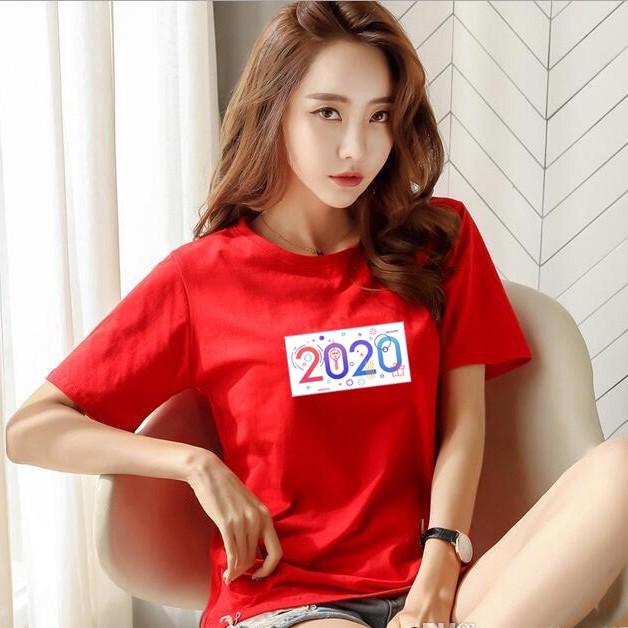 áo thun nữ Vải xịn cotton cổ tròn đơn giản đón năm 2020 [Được xem hàng trước khi thanh toán]