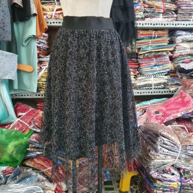 Chân váy- chân váy xly lưng thun phom 60kg