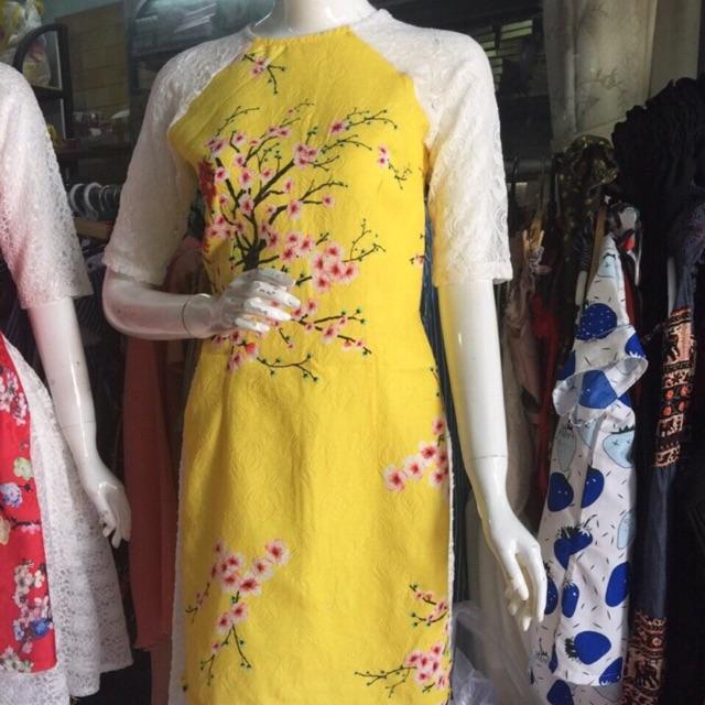 805169817 - Áo dài gấm nổi kèm chân váy ren