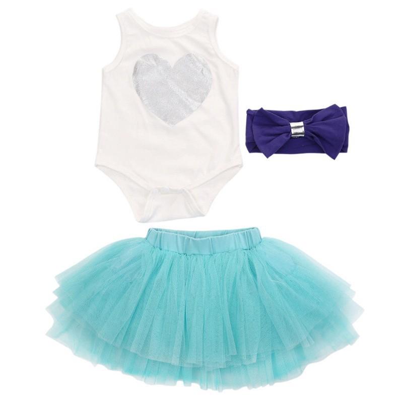 Set jumpsuit + chân váy tutu + băng đô cho bé gái