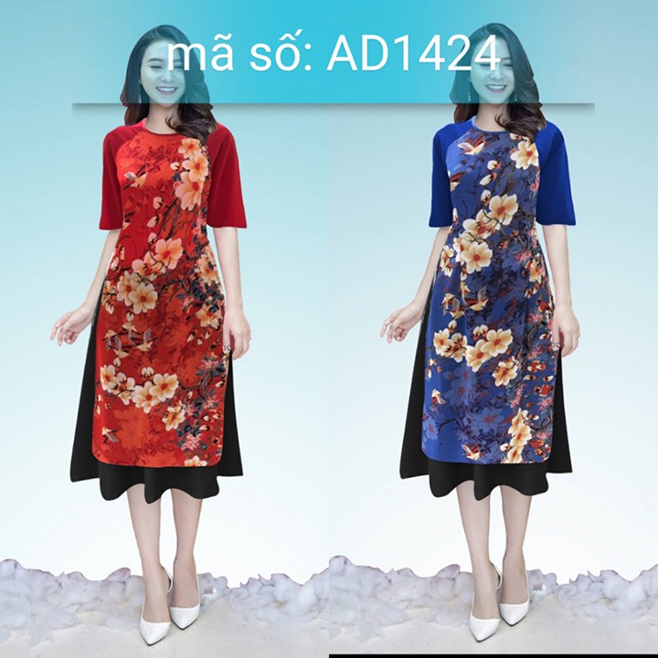 Có size XXL Set Áo Dài Cách Tân cổ tròn họa tiết hoa ngày xuân kèm váy