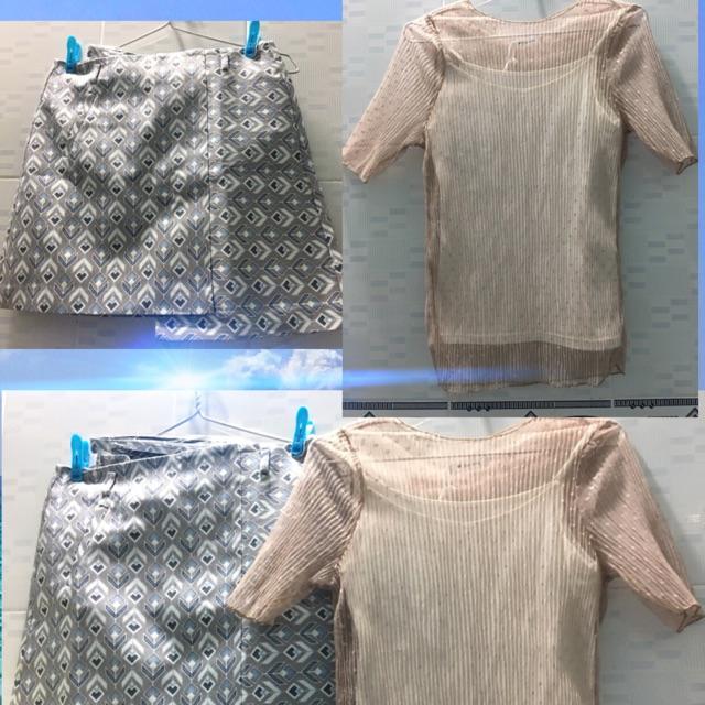 Set chân váy + áo ren ( có lót)