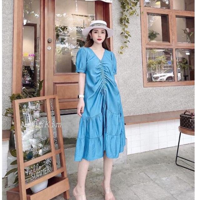 6842560650 - Váy đầm bầu công sở hàn quốc đẹp giá rẻ nhún ngực chất đũi