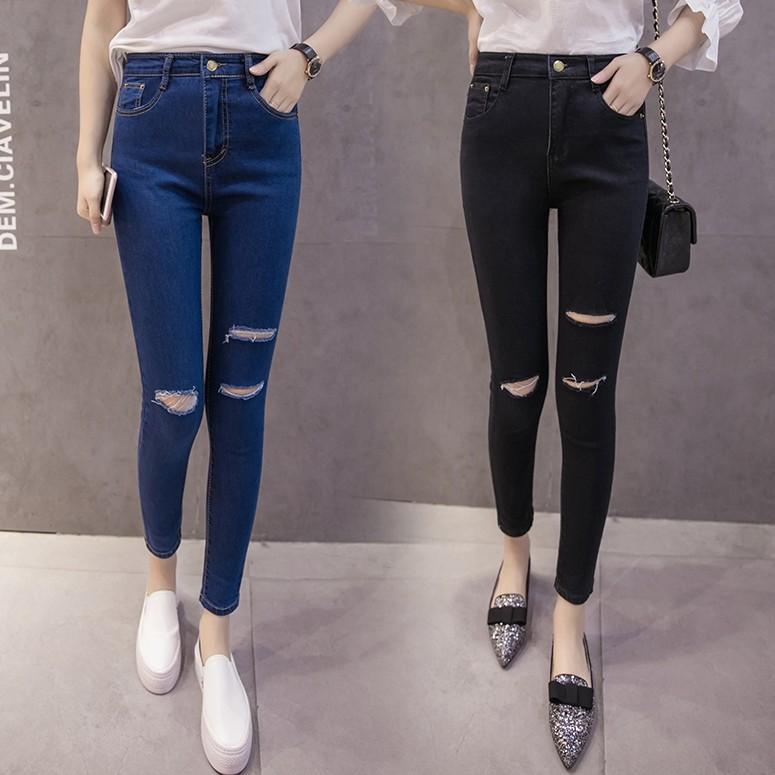 Quần jeans skinny kiểu lưng cao thiết kế tôn dáng cho nữ