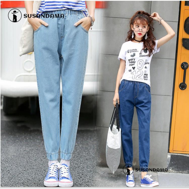 Quần jean nữ lưng cao ống rộng đàn hồi thời trang