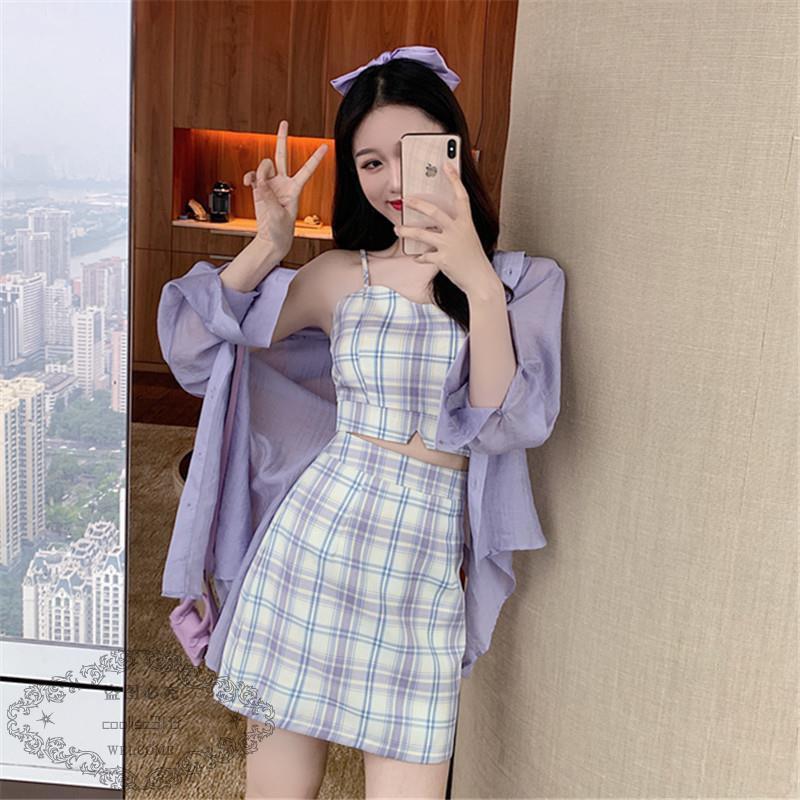 Bộ Áo Sơ Mi Chống Nắng + Chân Váy Ca Rô Xinh Xắn Theo Phong Cách Hàn Quốc