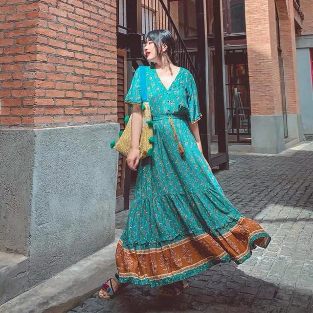 (Ảnh thật)(sẵn đỏ) Váy đầm maxi boho thổ cẩm vintage dáng dài tay ngắn cổ V xoè tua rua hoạ tiết đi du lịch chụp ảnh