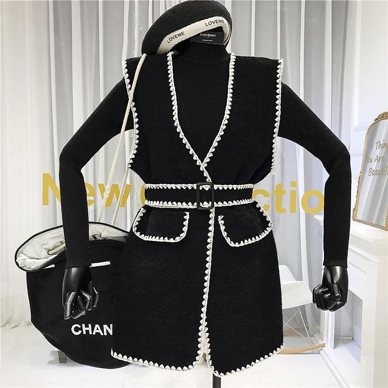 Bộ Áo Khoác Len Không Tay + Chân Váy Xinh Xắn Dành Cho Nữ