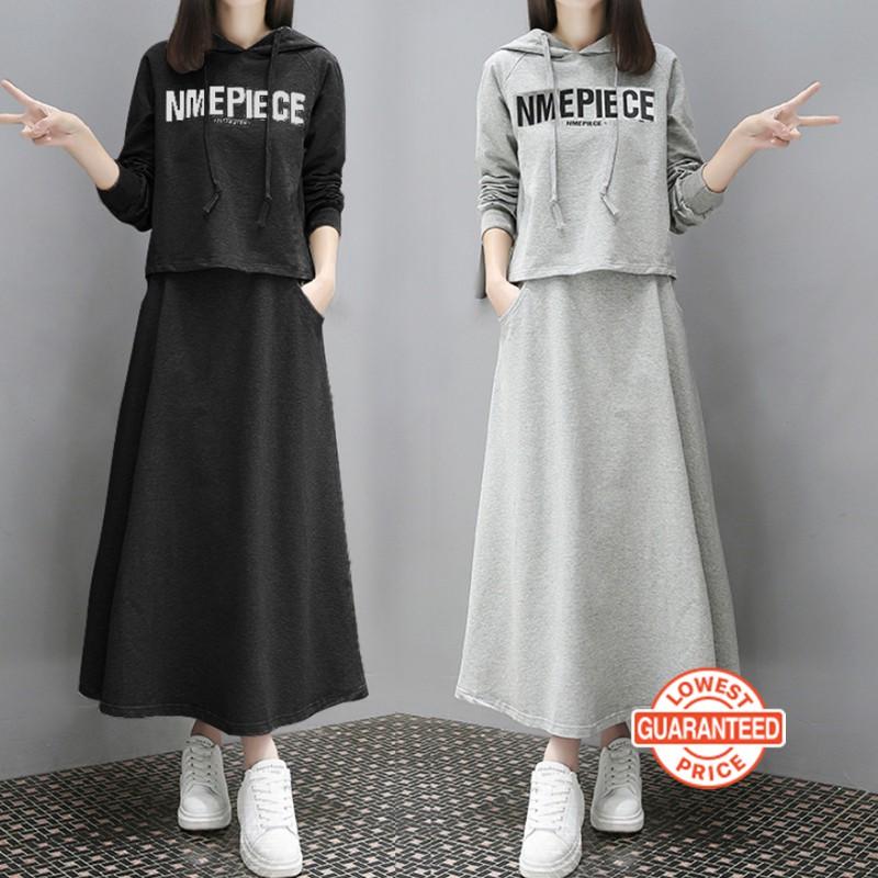 Set Áo Hoodies Có Nón Dài Tay + Chân Váy Lưng Cao Thời Trang Nữ