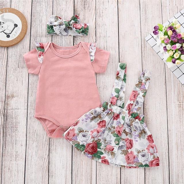 Set áo + chân váy + băng đô hoạ tiết hoa