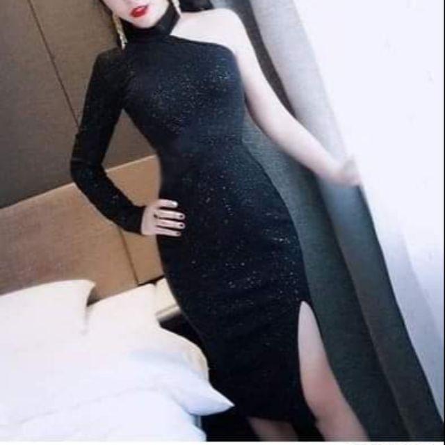 Đầm body 1 tay kim tuyen đen sành điệu