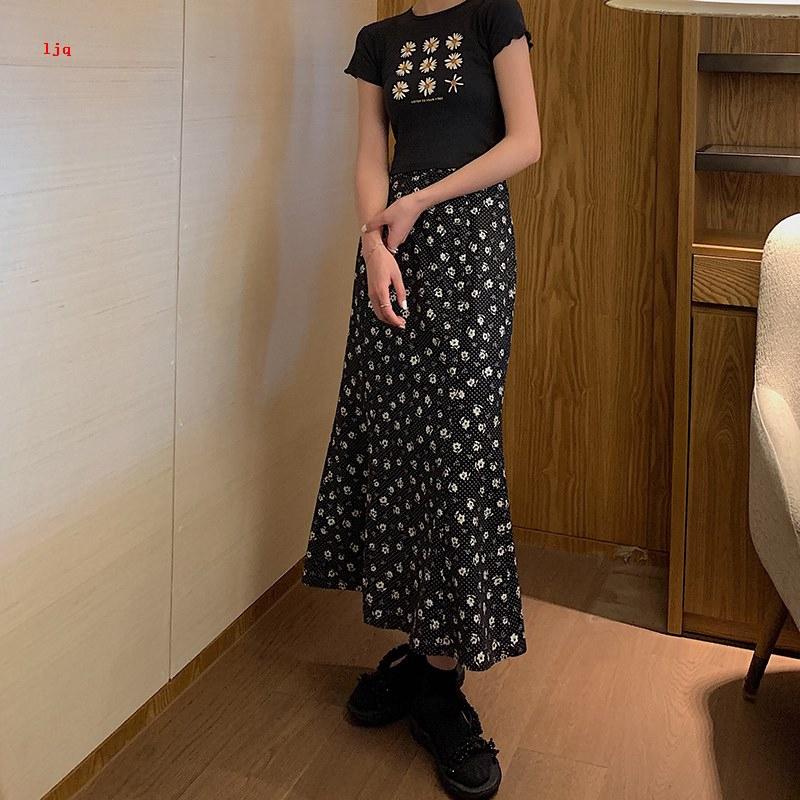 Chân Váy Dài Lưng Cao Họa Tiết Hoa Xinh Xắn Cho Nữ