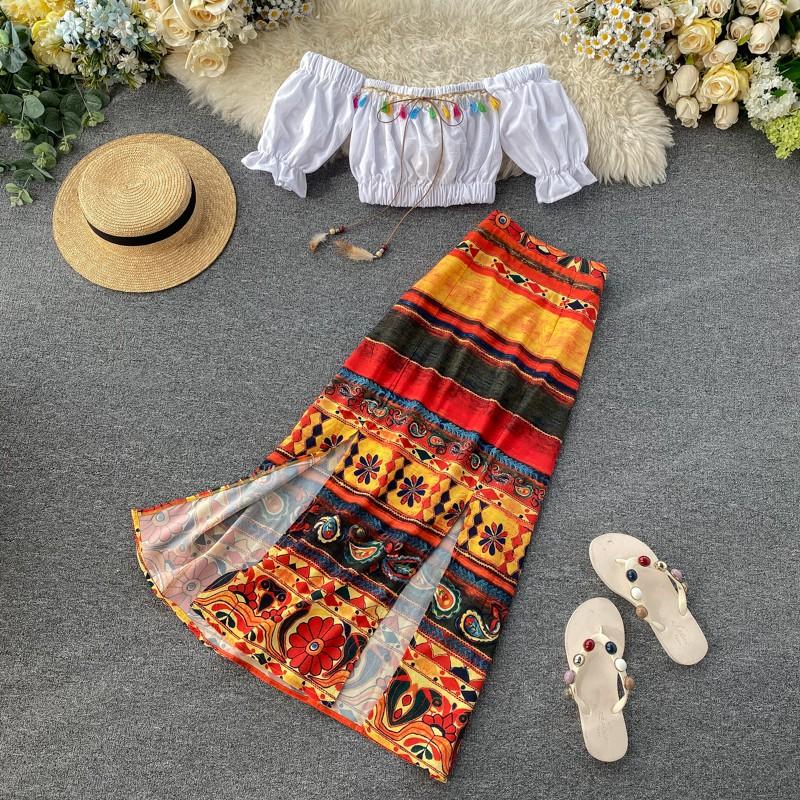 Set Áo Croptop Và Chân Váy Phong Cách Bohemian Xinh Xắn Cho Nữ