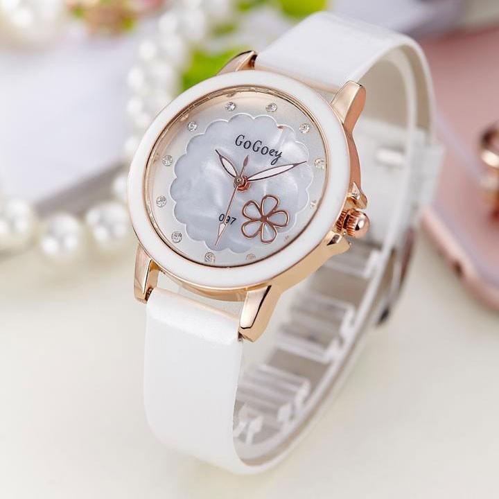 [Mã WTCHJAN giảm 20K ] Đồng hồ nữ Gogoey HSP6661 dây da pu, mặt kính size 31mm