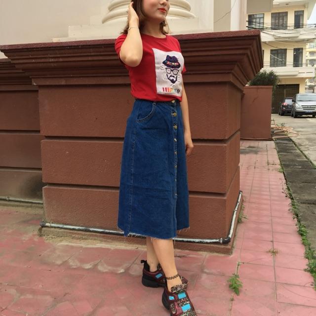 Set áo thun + chân váy jean xoè