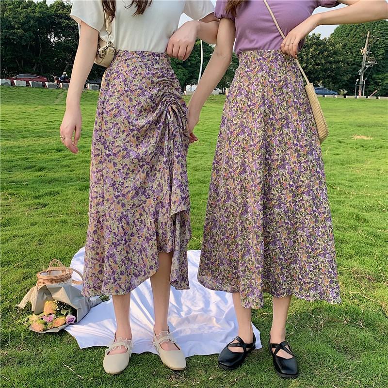 Chân váy hoa dài lưng cao xinh xắn dành cho nữ