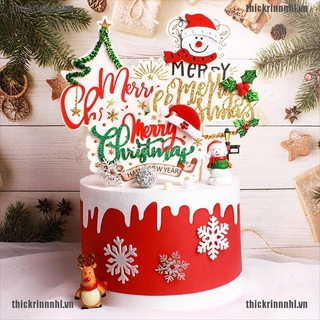 Hình ảnh <Hot~new>Merry Christmas Cake Flag Topper Cake Card Inserting Party Cake Decoration