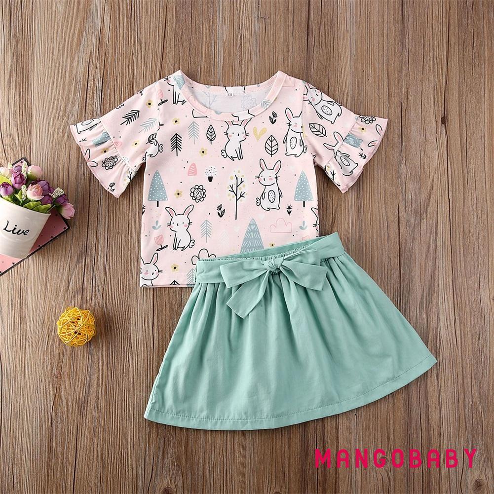 Set Áo Thun Tay Dài + Chân Váy Hoạ Tiết Thỏ Phục Sinh Cho Bé Gái