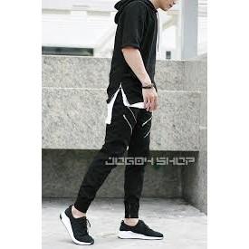 Quần jogger kaki nam,nữ khóa ziper kiểu (đen) JK7