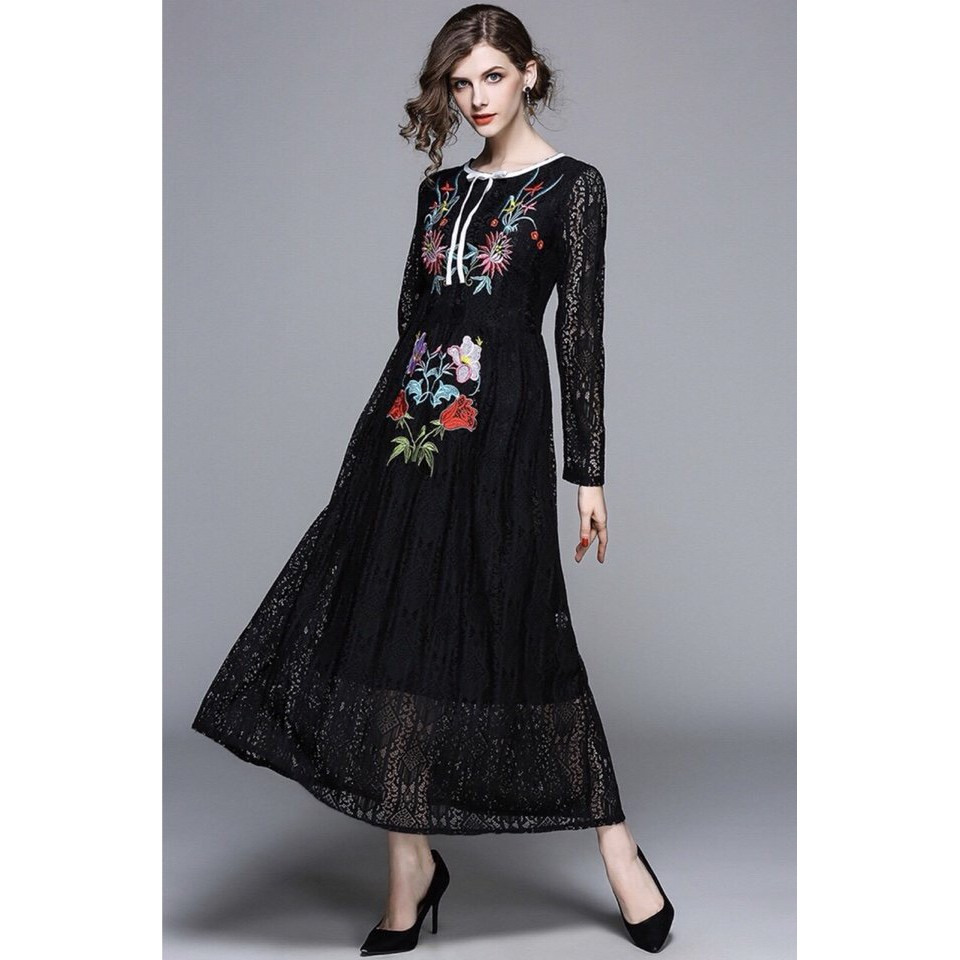 Đầm maxi ren thêu hoa