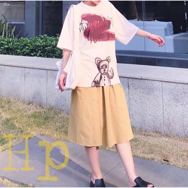 Sét gấu mắt xx+ chân váy vàng hoặc quần kẻ THN668