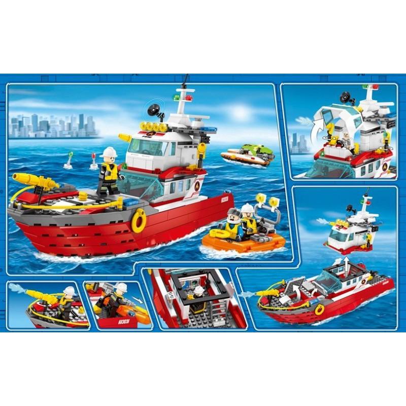 Lắp ráp xếp hình Lego city 603036: Tàu chữa cháy cứu hộ trên biển (ảnh thật)
