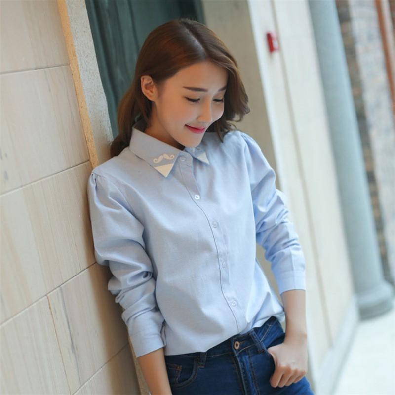 Áo sơ mi công sở nữ tay dài màu trơn phong cách Hàn Quốc