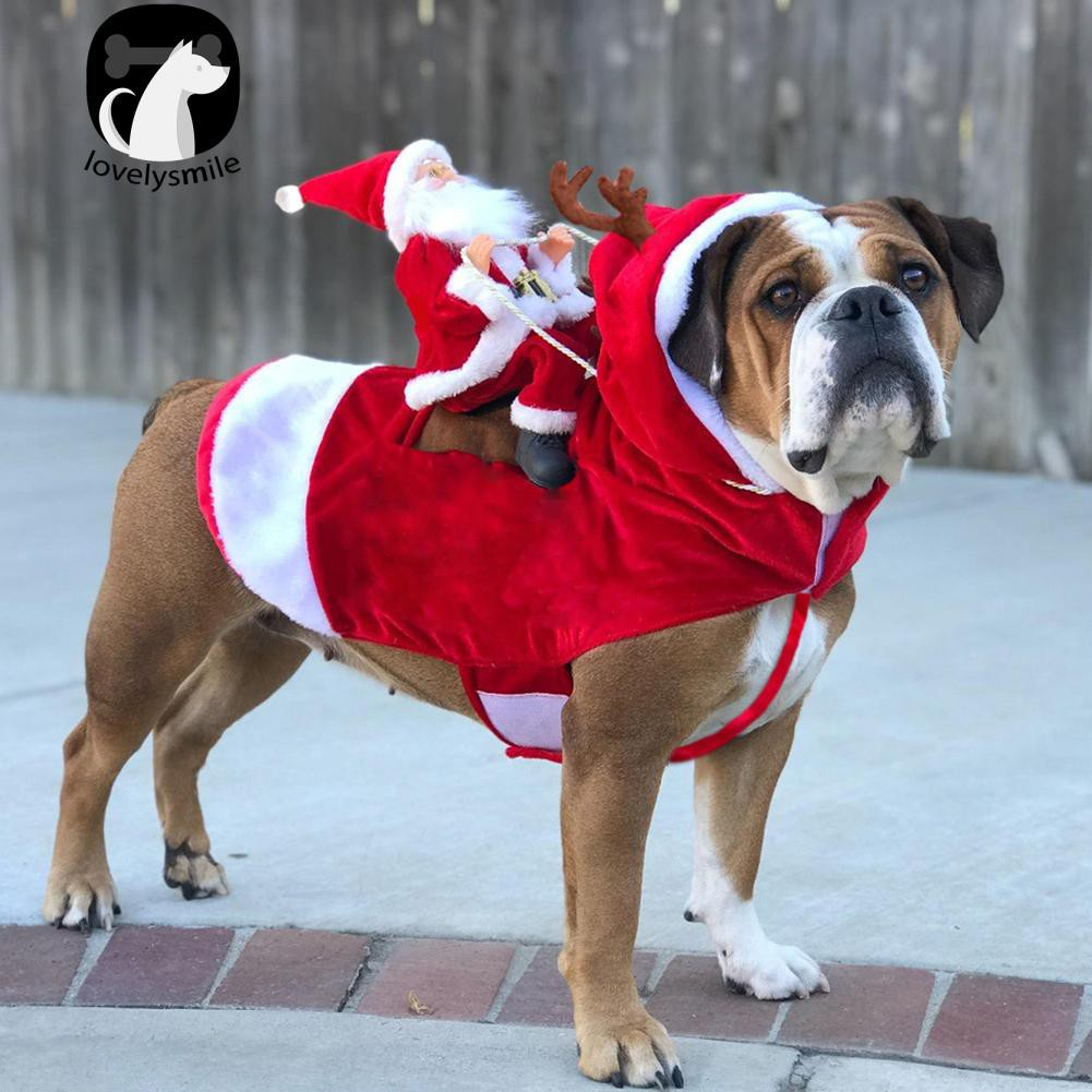 L~Christmas Pet Dog Clothes Santa Claus Antler Rider Costume Coat Outfit